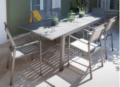 Ensemble table Trieste 180/240 cm + 6 fauteuils Théma