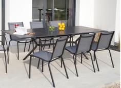 Ensemble table Malaga 180/240 cm + 6 chaises Linéa