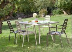 Ensemble table Menu 160 x 89 cm + 4 chaises et 2 fauteuils