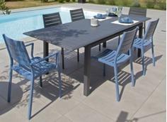 Ensemble table extensible Louisiane2 + 6 sièges Flower