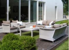 Ensemble Thyme (2 fauteuils + canapé + table basse plateau Trespa®)