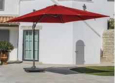 Parasol déporté 3 x 3 ELIOS, mât grey