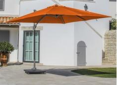Parasol déporté 3 x 3 ELIOS, mât taupe