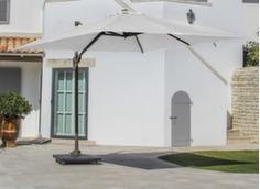 Parasol déporté 3 x 3 ELIOS, mât café