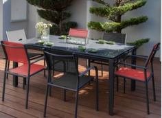 Ensemble table Anaïs 180 x 100 cm + 6 fauteuils Duca
