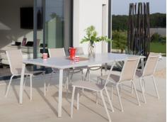 Table Azuro 225 x 100 cm + 6 chaises