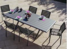 Ensemble table Bridge 220 x 100 cm + fauteuils + Parasol déporté