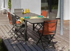 Ensemble table Elise 80/160 cm + 4 chaises + 1 parasol droit
