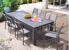 Ensemble table Fiero 180 x 100 cm + 4 chaises et 2 fauteuils