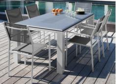 Table Florence 180 cm + 6 fauteuils blanc/argent