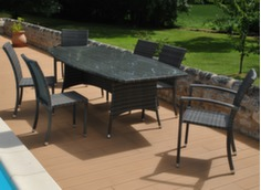 Ensemble table Lotus 180 x 100 cm + 4 chaises et 2 fauteuils