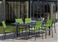 Ensemble table Messina 160/230 cm + 6 fauteuils + parasol déporté
