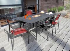 Ensemble table Miami 168/223 cm + 6 fauteuils + parasol déporté