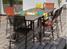 Ensemble table Elise 140/240 cm + 6 fauteuils Théma