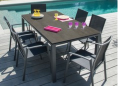 Table Stonéo Trespa® 180 cm + 6 fauteuils Palma