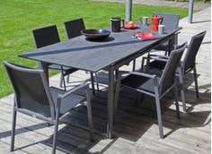 Ensemble table Miami Trespa® 168/223 cm + 6 fauteuils Palma