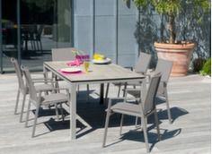 Ensemble table Stonéo 210 cm + 6 sièges Palma