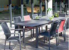 Ensemble table Soto HPL 180/235 cm + 6 chaises Ida