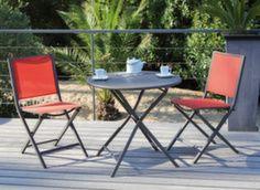 Guéridon Globe ø 80 cm + 2 chaises pliantes Ida