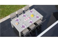 Ensemble table Aurore 214/311 cm + 6 chaises et 2 multipositions Elégance