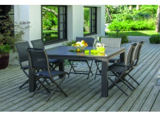 Table Latino 100/153 cm + 8 chaises Elégance