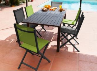 Table Trieste 130/180 cm + 6 chaises Théma
