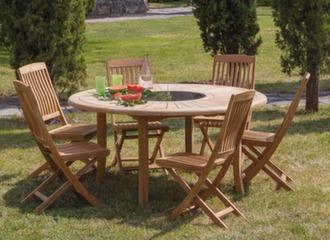 Table Bréhat Ø 155 cm + 6 chaises pliantes