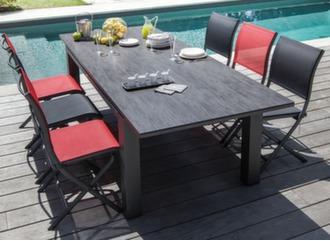 Table Flo Trespa® 220/300 cm + 6 chaises Elégance