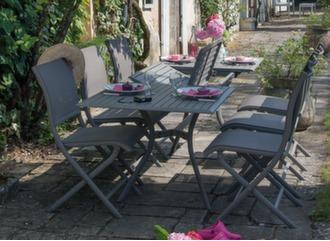 Table Séville 160/240 cm + 6 chaises Elégance