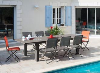 Table Aurore 214/311 cm + 6 chaises Elégance