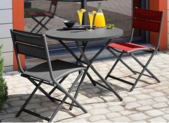 Guéridon Win Ø 80 cm + 2 chaises pliantes