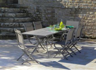 Table Dolus plateau Trespa® + 6 chaises Elégance