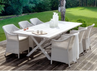 Table Crossway 240 cm + 6 fauteuils Chicory