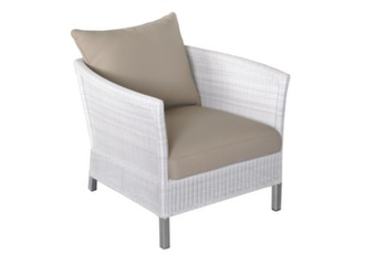 Fauteuil THYME White (+ coussins Taupe)