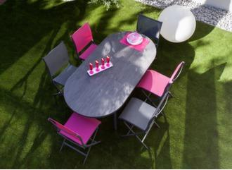 Table Bilbao 160/200 cm plateau Trespa® + 6 chaises