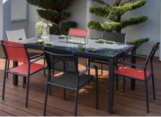 Table Anaïs 180 x 100 cm + 6 fauteuils Duca