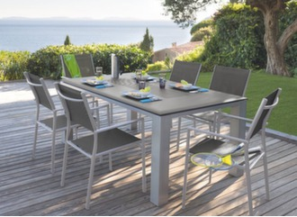 Table Florence 180 cm + 6 fauteuils grey/taupe