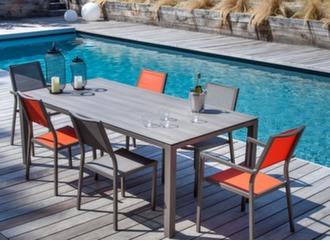 Table Stonéo Trespa® 210 cm + 6 sièges Florence
