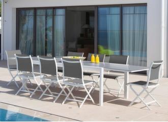 Table Juan 220/340 cm plateau verre + 6 chaises Elégance