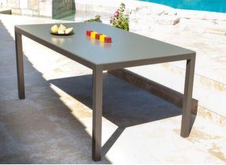 table de jardin en aluminium et béton