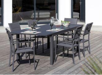 Table Trieste 180/240 cm + 6 fauteuils Milan