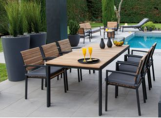 Table Rocha 207 x 90 cm + 4 fauteuils