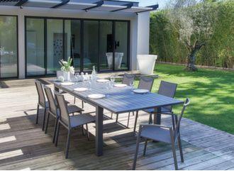Table Elisa 180/240 cm + 8 sièges Palma