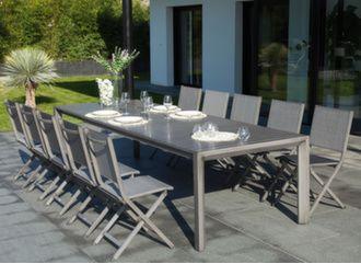 Table Milan 230/305 cm + 12 chaises Théma