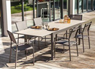 Table Bavella céramique 180/270 cm + 6 sièges Duca