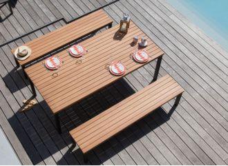 Table de jardin aluminium et bois avec 2 bancs