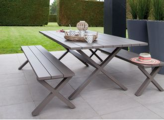 Table Crossway 200 x 107 cm + 2 bancs