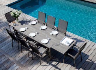 Table Juan 220/340 cm plateau Trespa® + 8 fauteuils Elégance