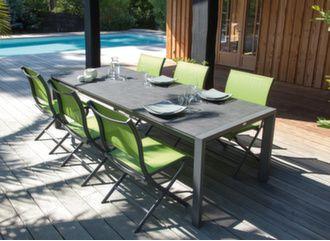 Table Milo 190/260 cm plateau Trespa® + 6 chaises