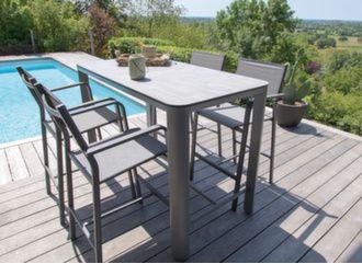 Mange-debout Eole plateau Trespa® + 4 fauteuils
